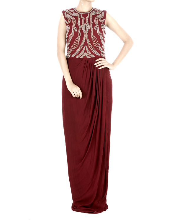 Maroon drapped gown