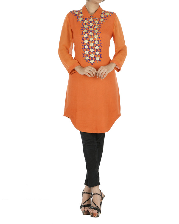 Orange tunic with gota work