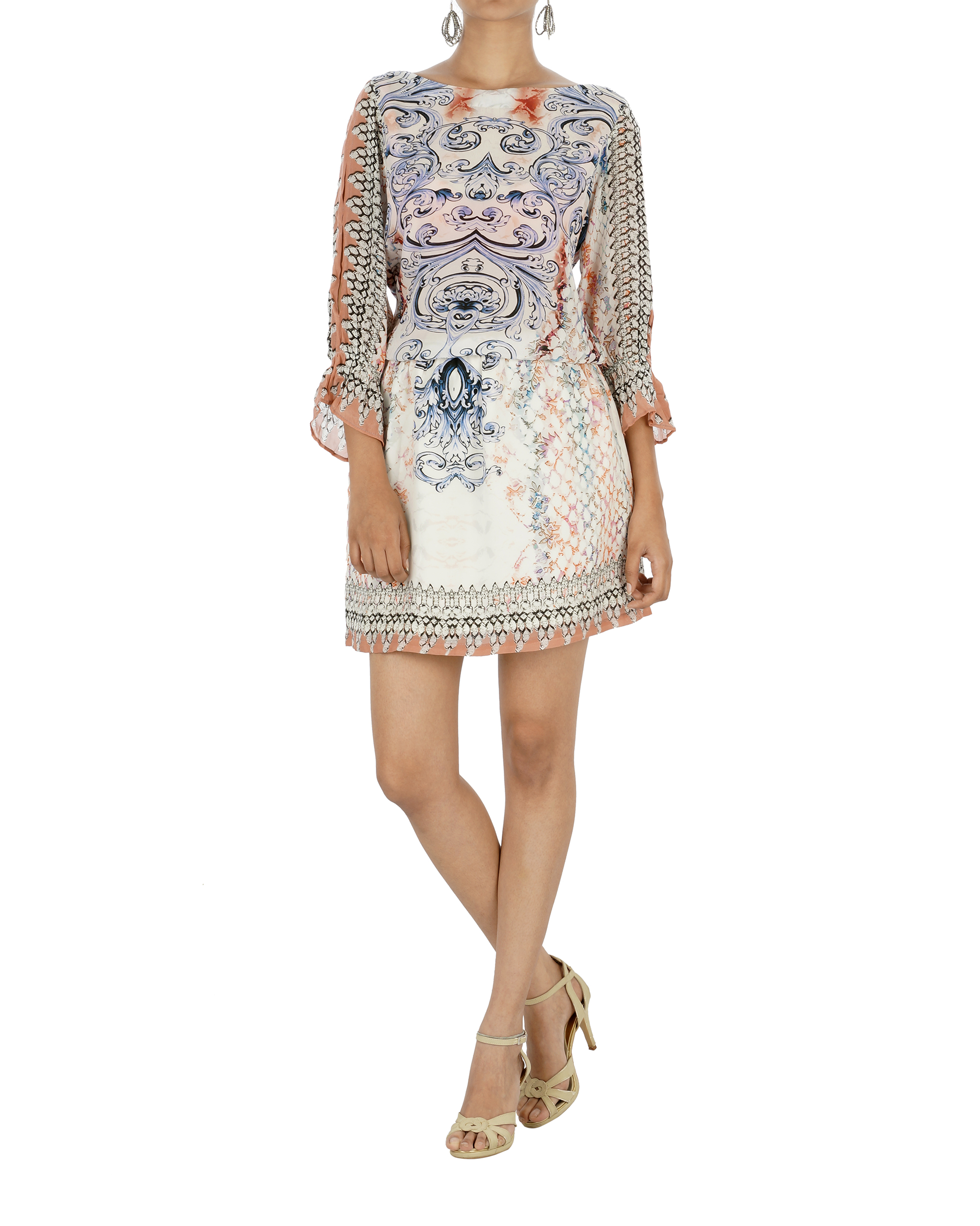 Ivory and navy blue printed dress