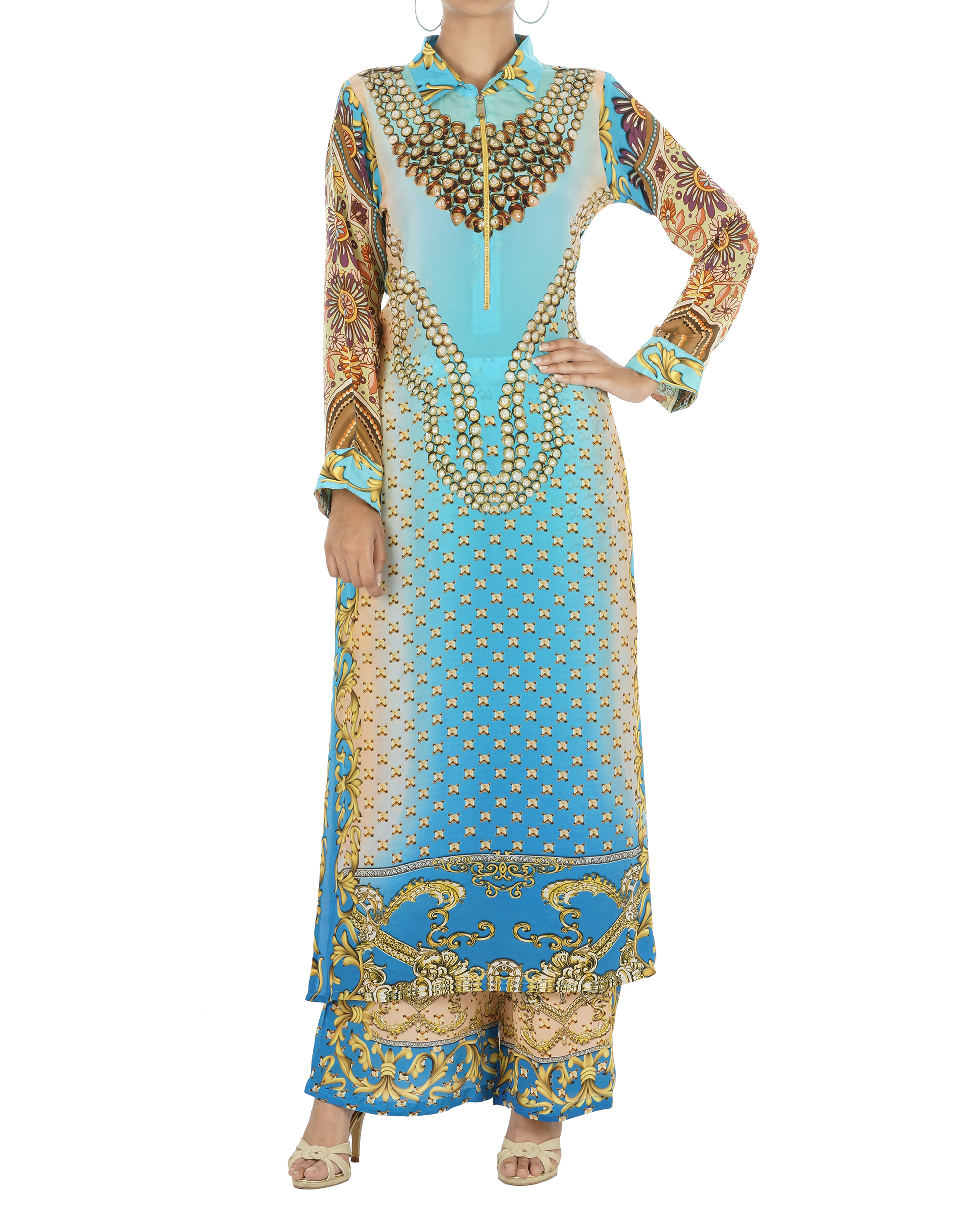 Blue and beige kurta set with palazzo