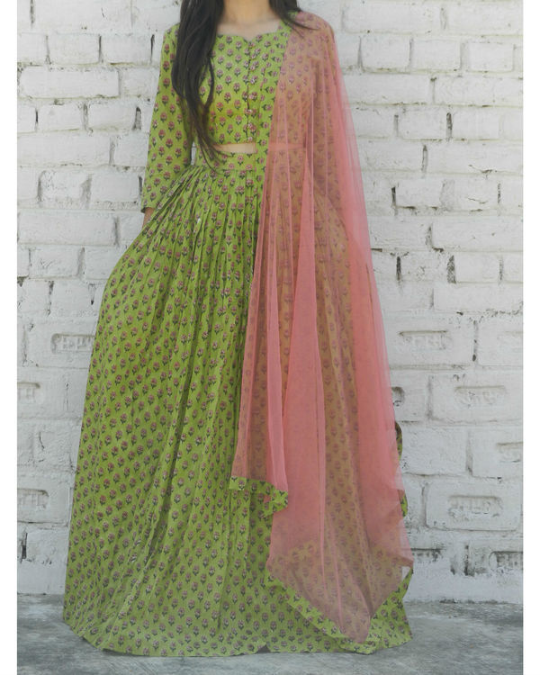 Green block printed lehenga set