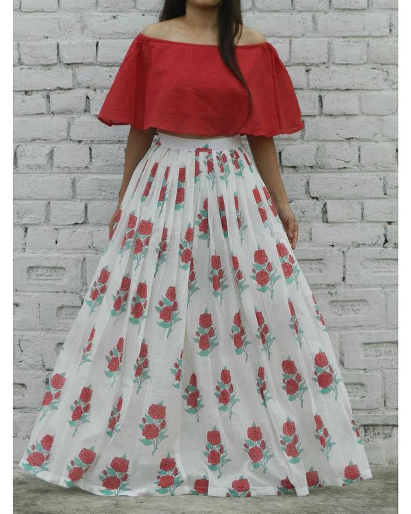 Red off shoulder crop top and rose skirt set