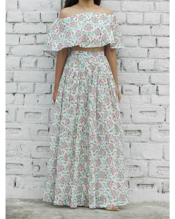 Pink off shoulder top and skirt set
