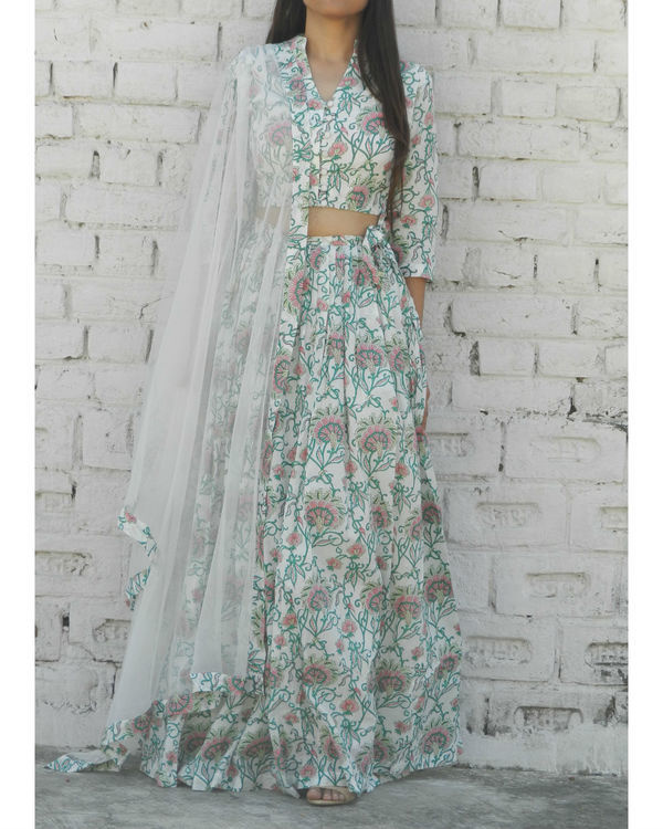 Off white and green lehenga set