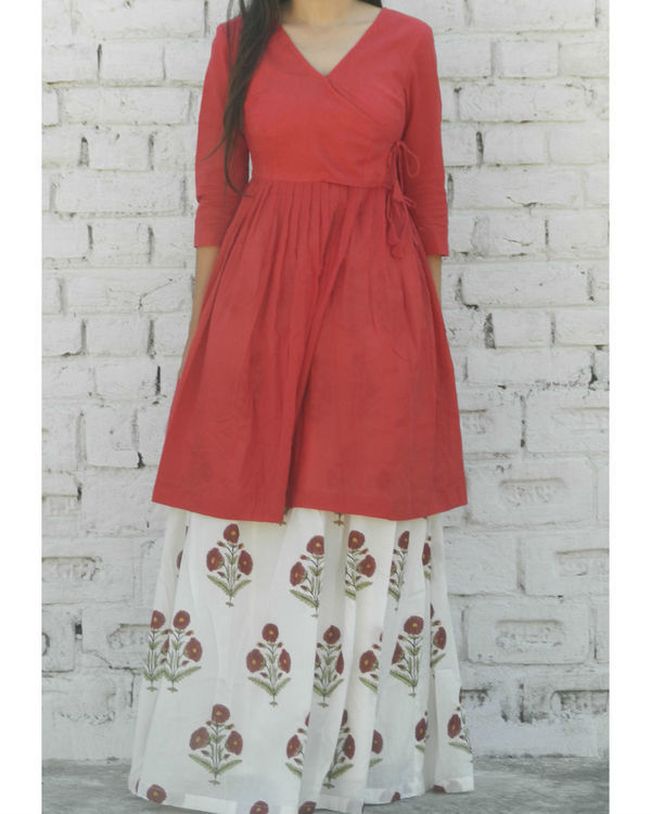 Marsala gathered tunic with skirt