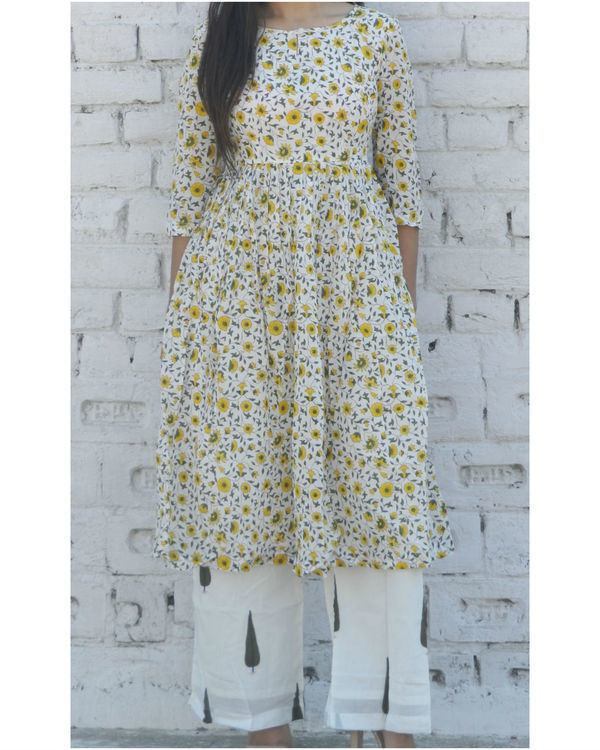 Yellow floral gathered kurta with green leaf palazzo