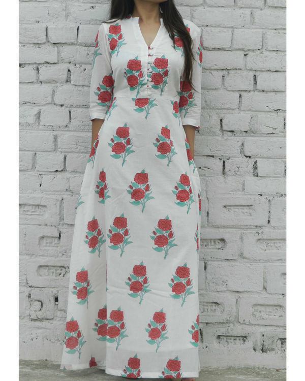 Red rose block printed maxi