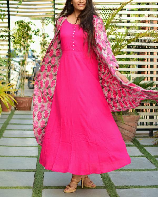 Pink rayon cape dress