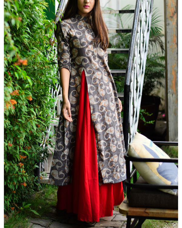 Grey & red printed rayon double layered dress