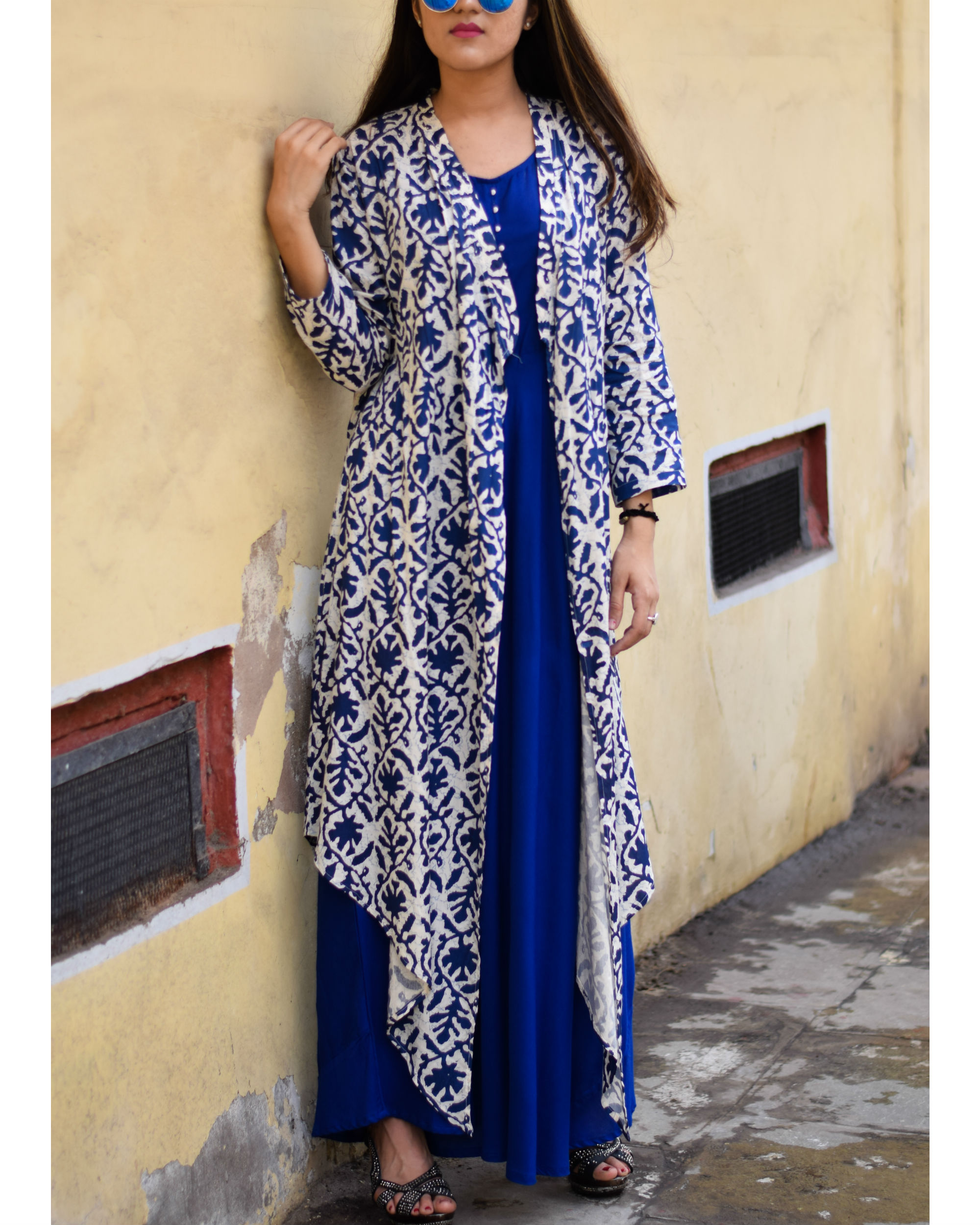 Printed blue rayon cape dress