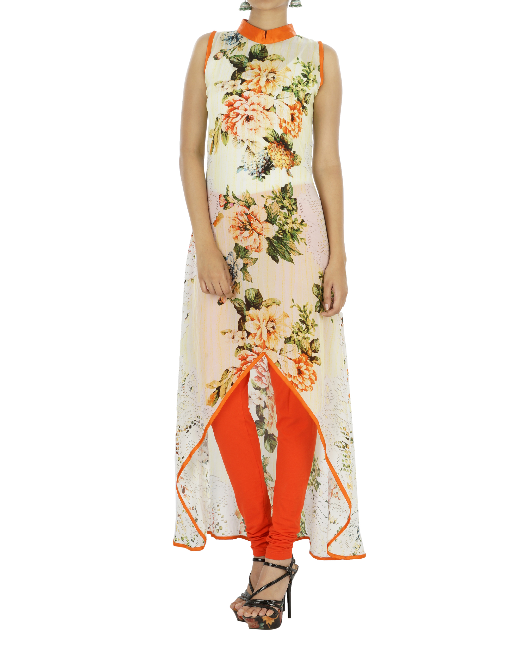 Orange floral kurta