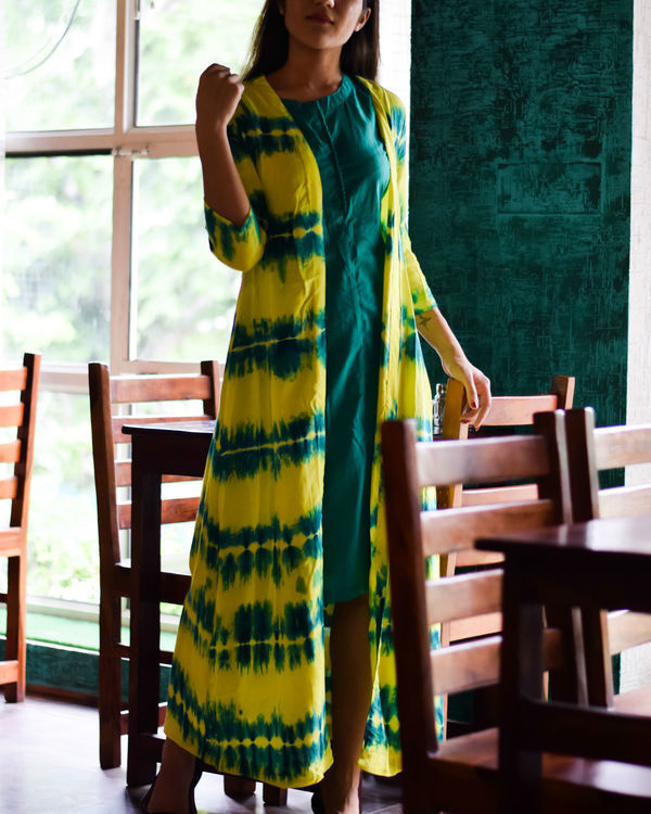 Yellow and earth green cape dress