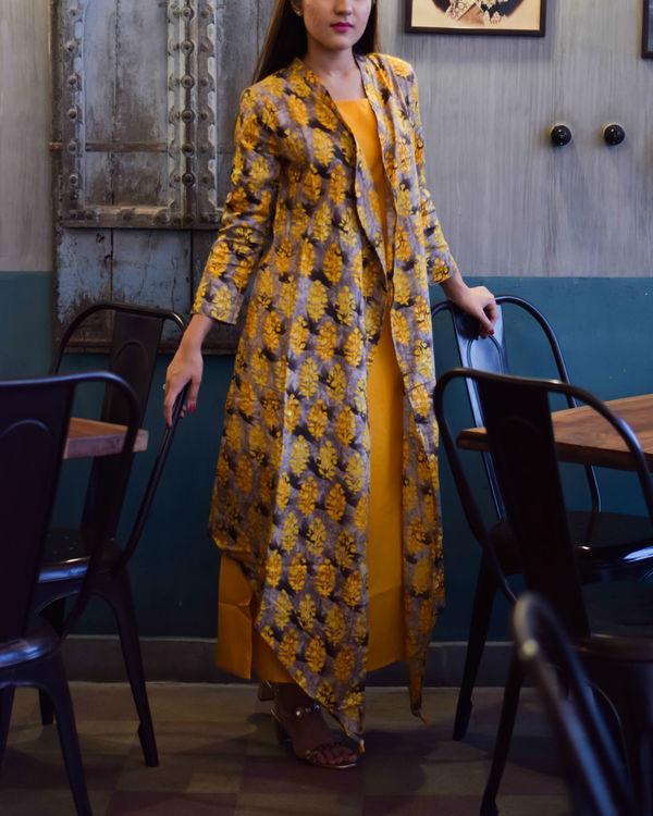 Yellow block print double layered dress