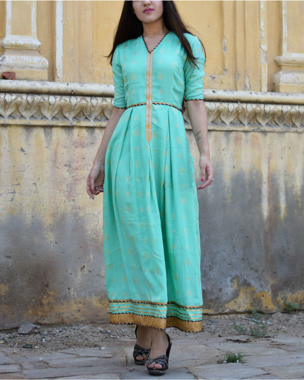 Cyan dress with gota work