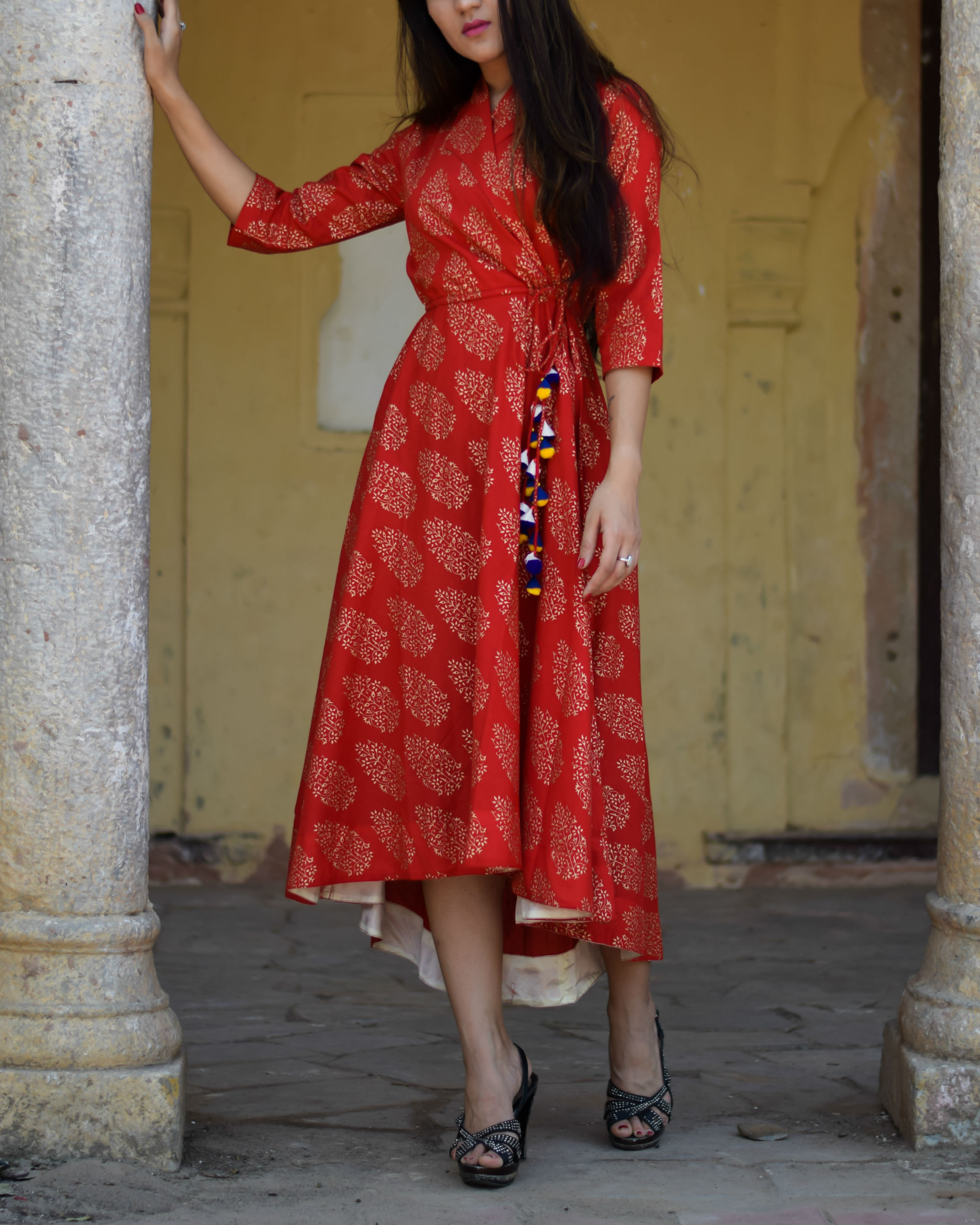 Red gold block printed wrap dress