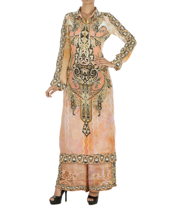 Peach and black kurta set with palazzo