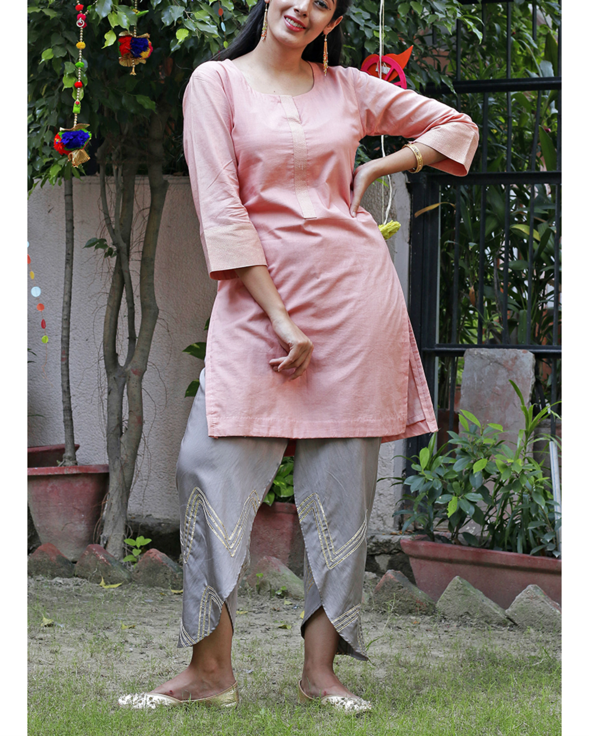 Peach dhoti set