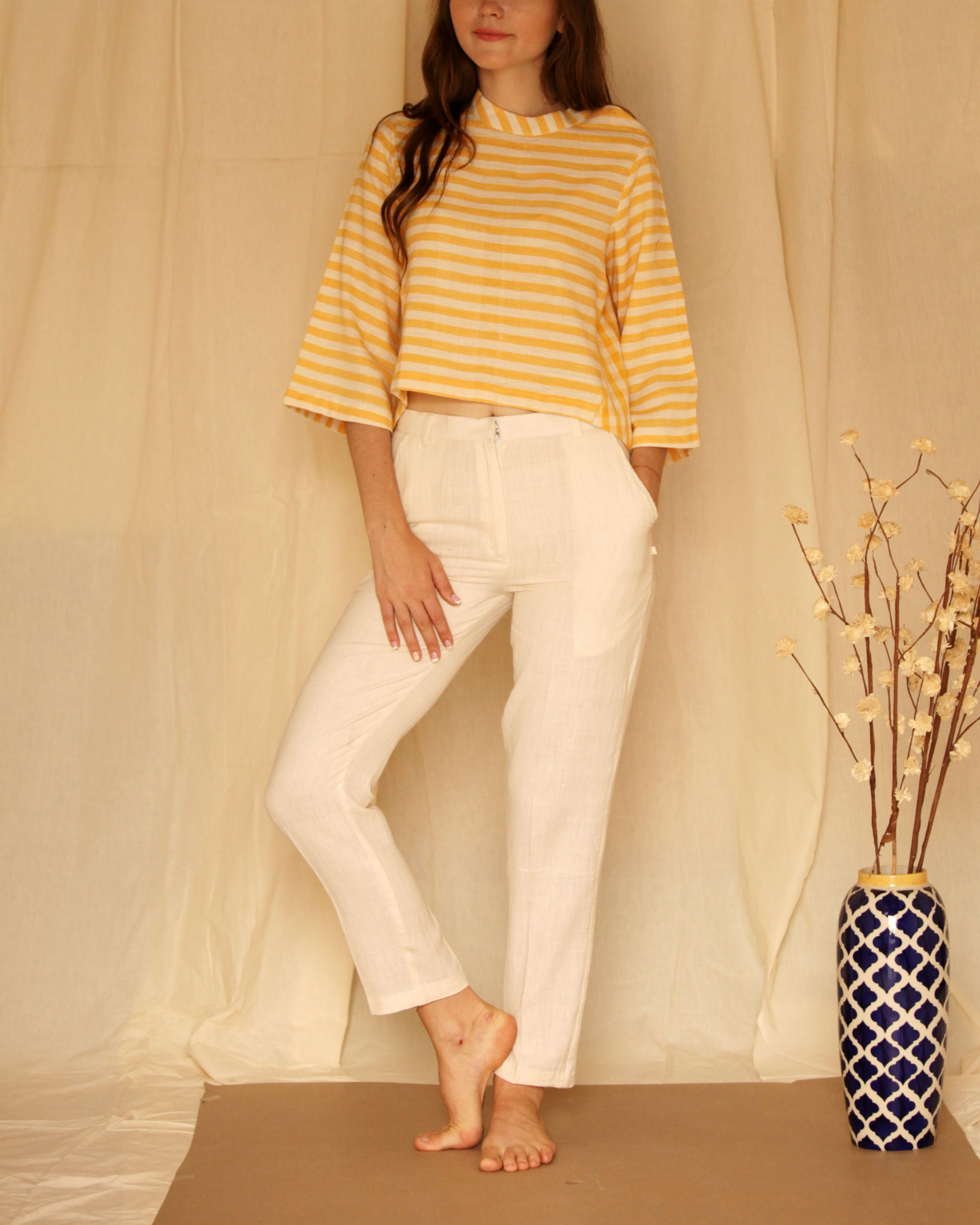 Yellow white bell sleeve top
