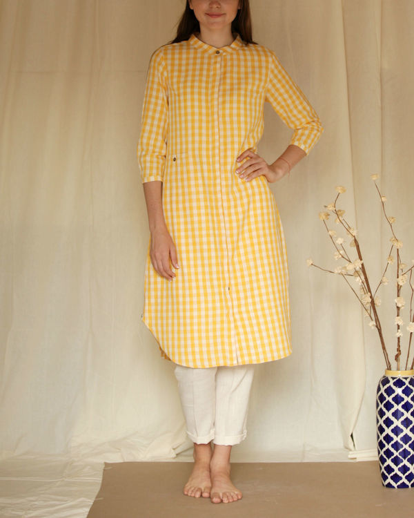 Yellow checkered tunic