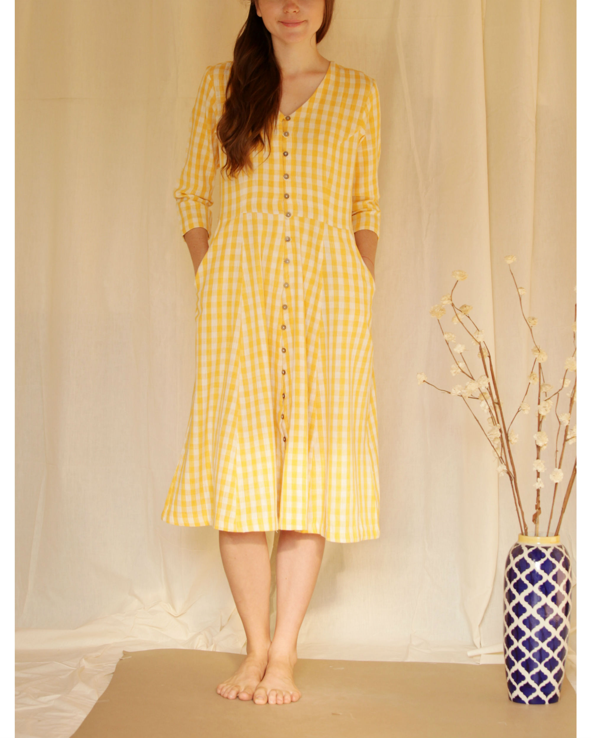 Yellow button down dress