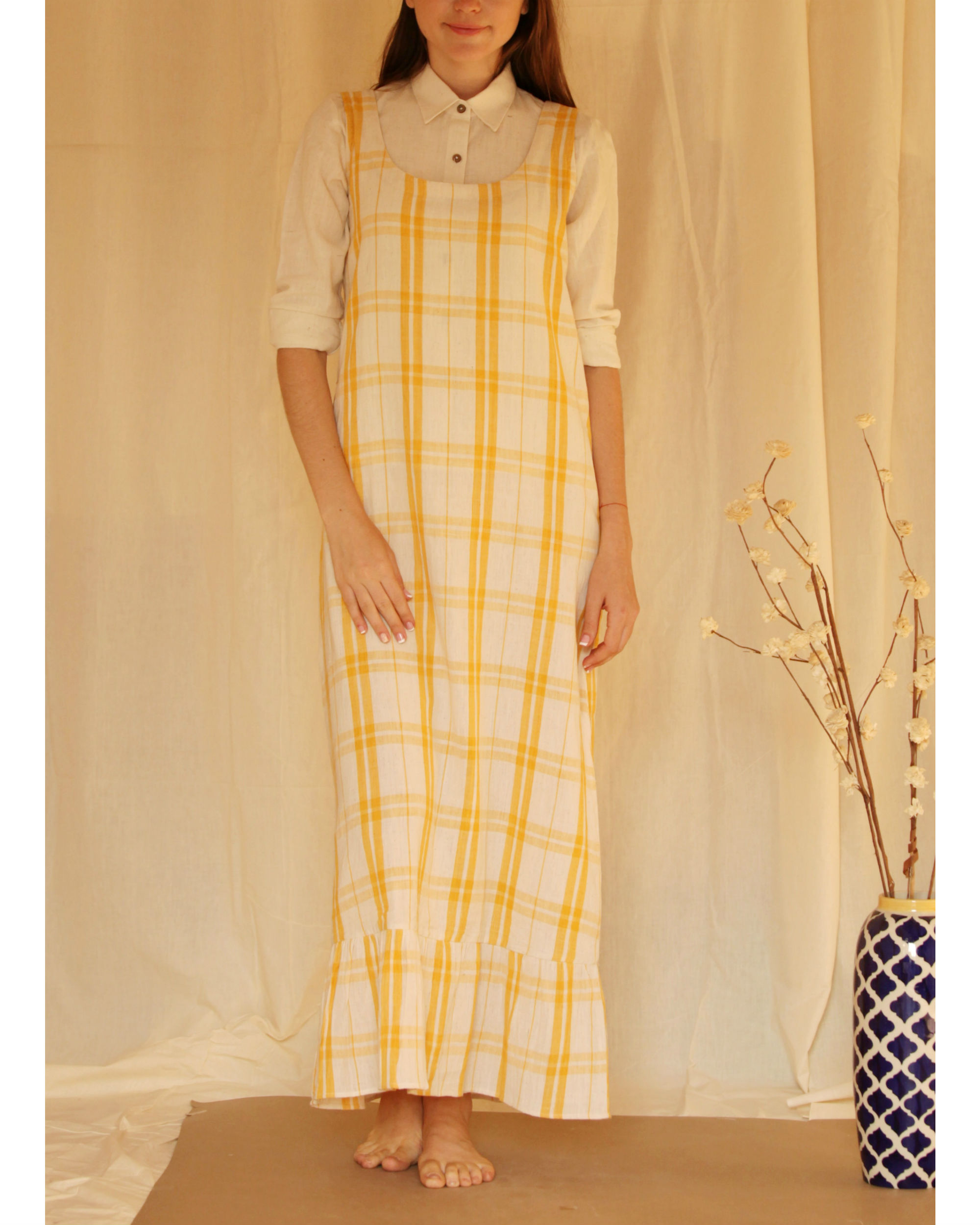 Yellow checkered maxi