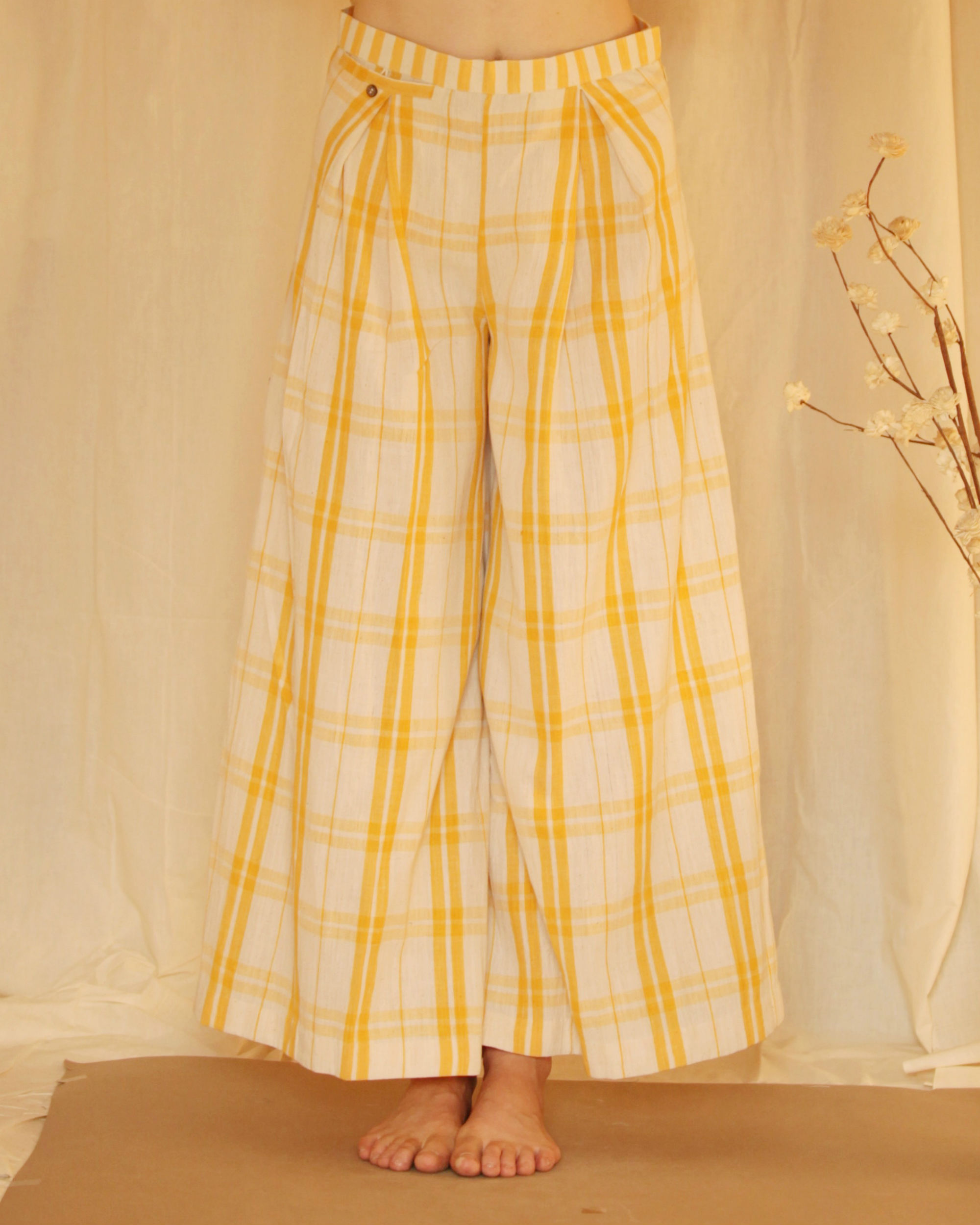 Yellow white checkered palazzo