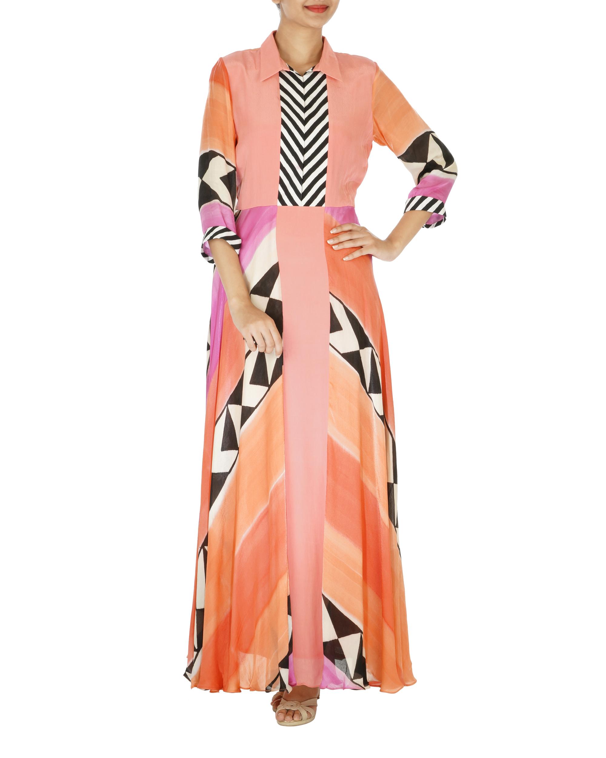 Abstract block printed dress