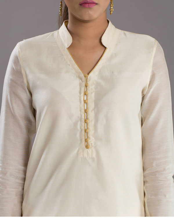 White zari short top
