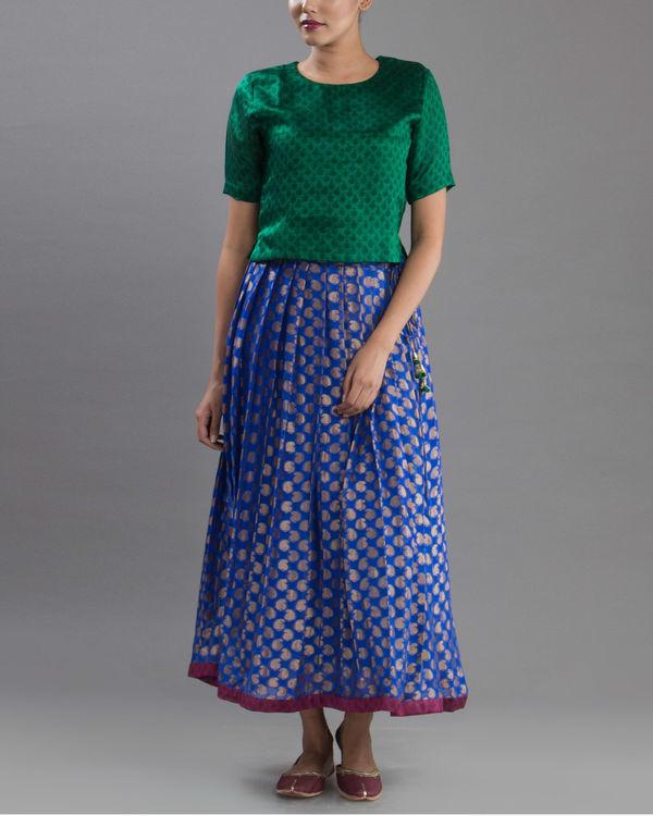 Royal blue brocade skirt