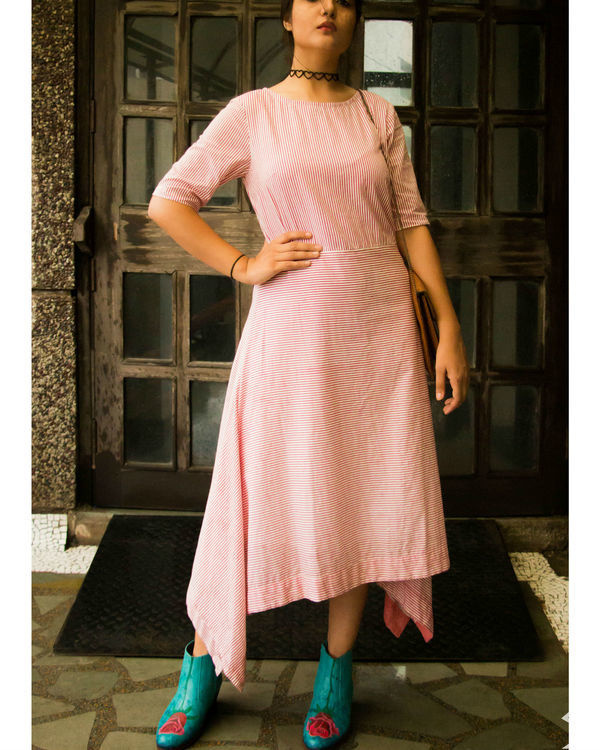 Pink stripes asymmetrical hemline dress