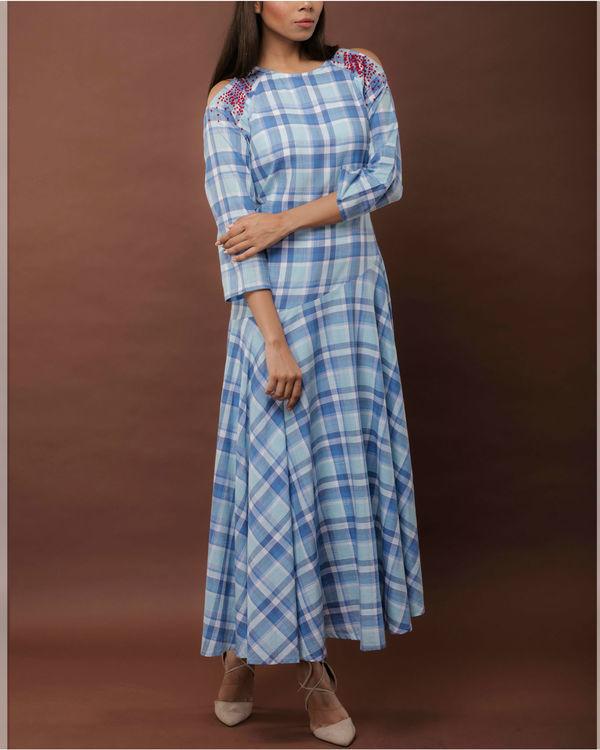 Checkered Cold Shoulder Dress