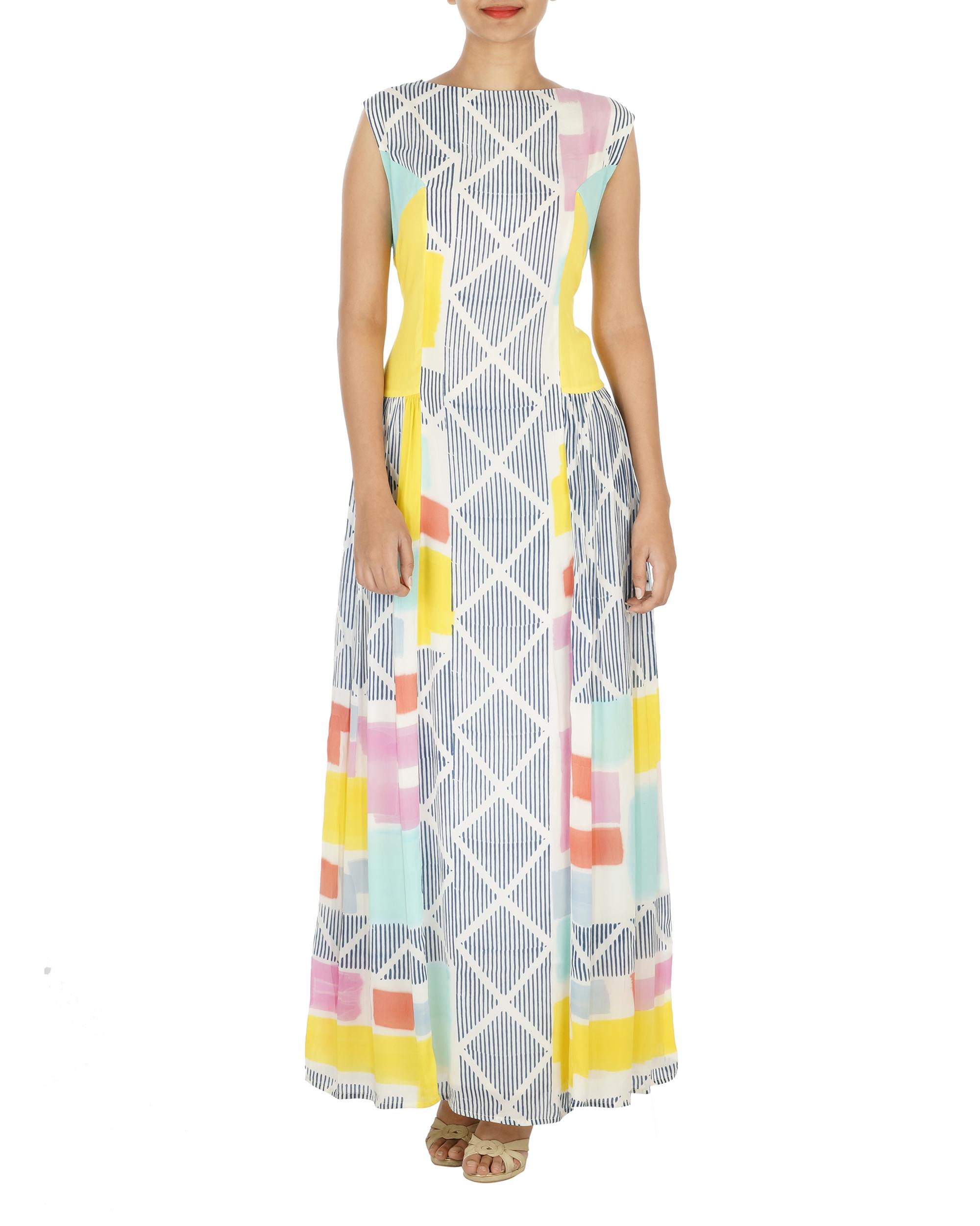 Block printed long dress