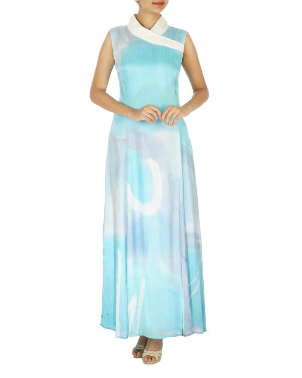 Shawl collar ice blue long dress