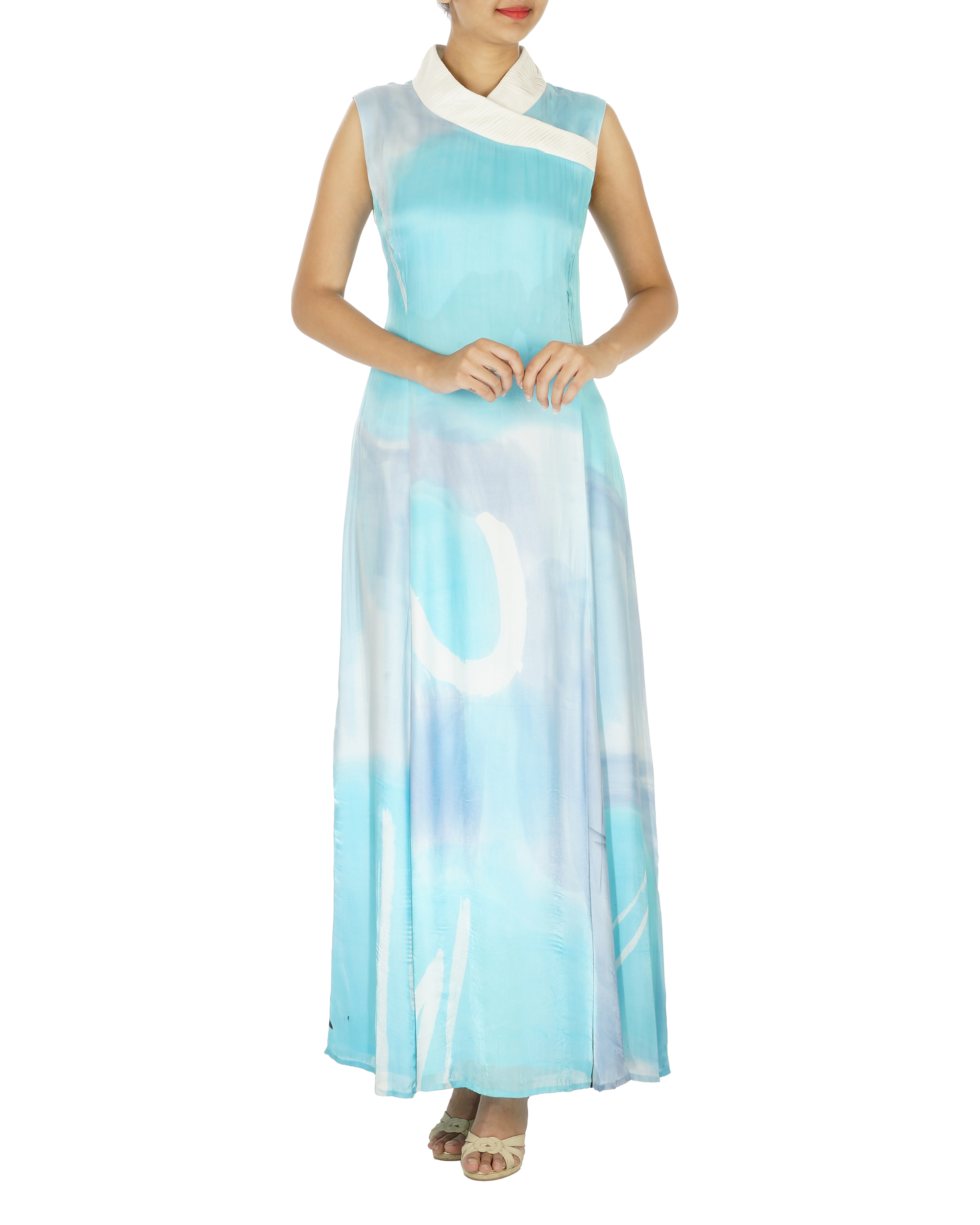 Shawl collar ice blue long dress