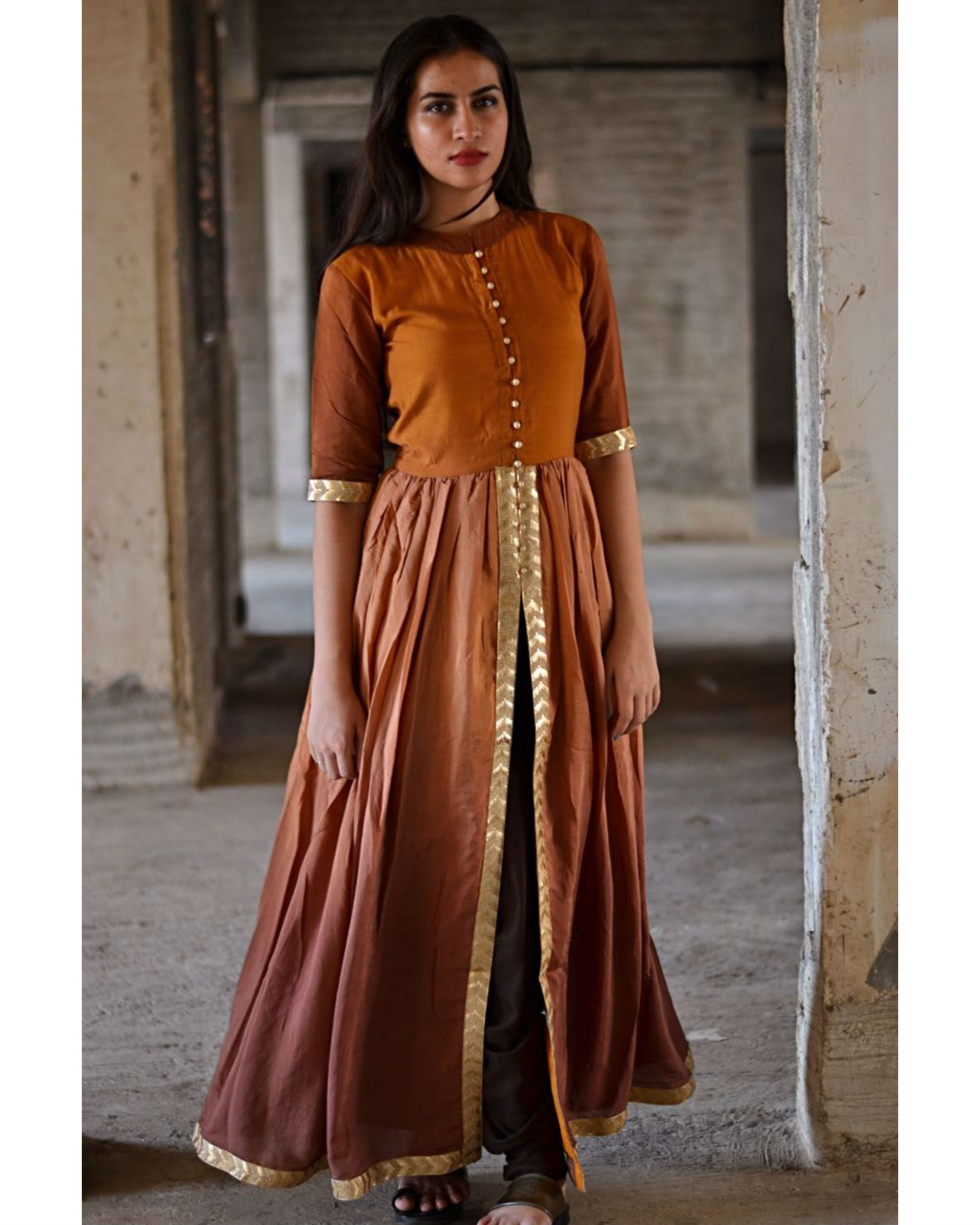 Shades of brown front slit maxi dress