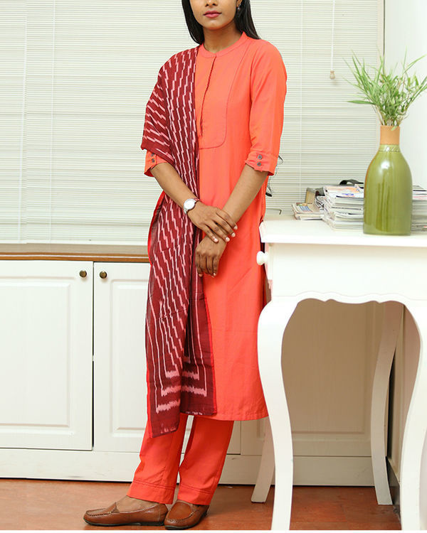 Peach cotton kurta set