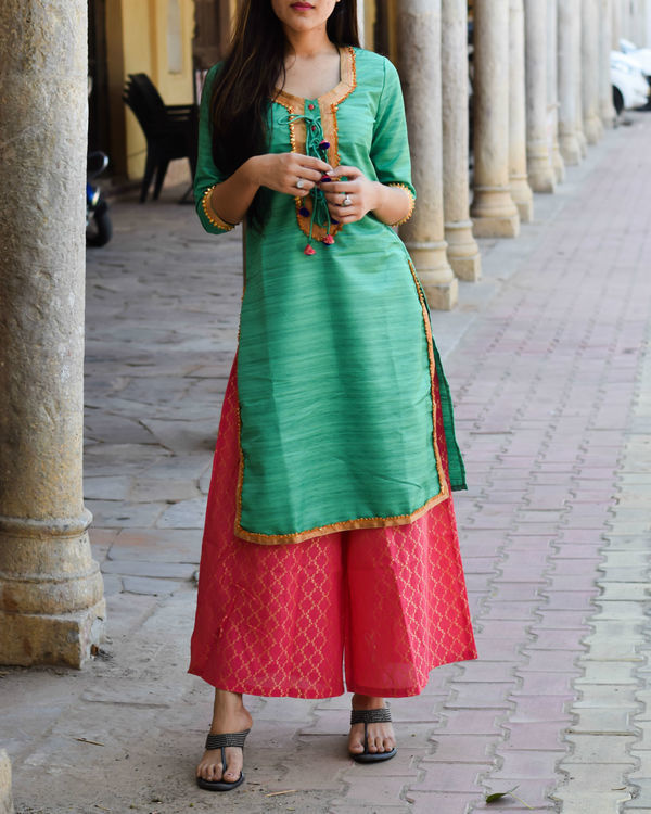 Sea green kurta with pink palazzo
