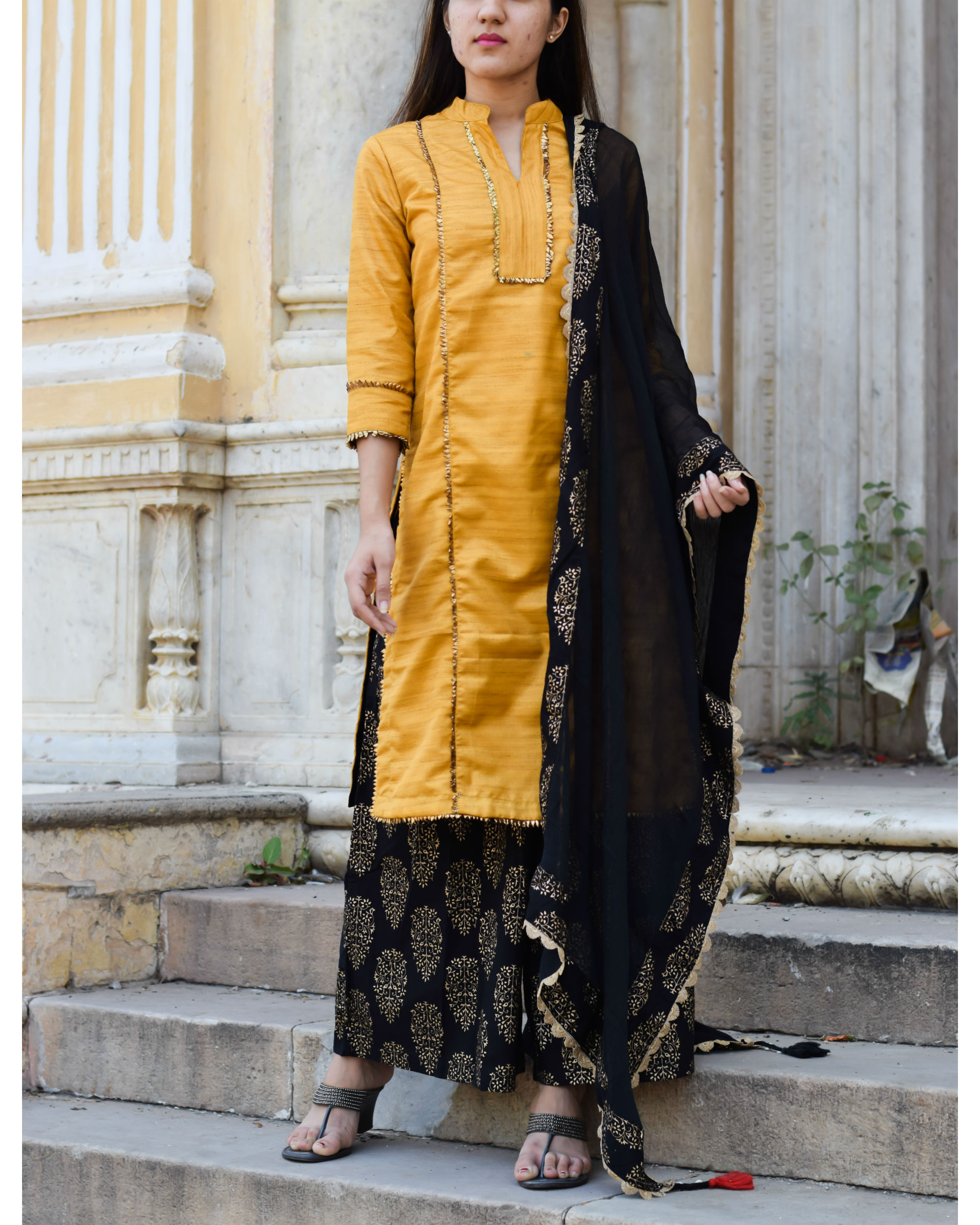 Yellow gota work kurta with palazzo and dupatta
