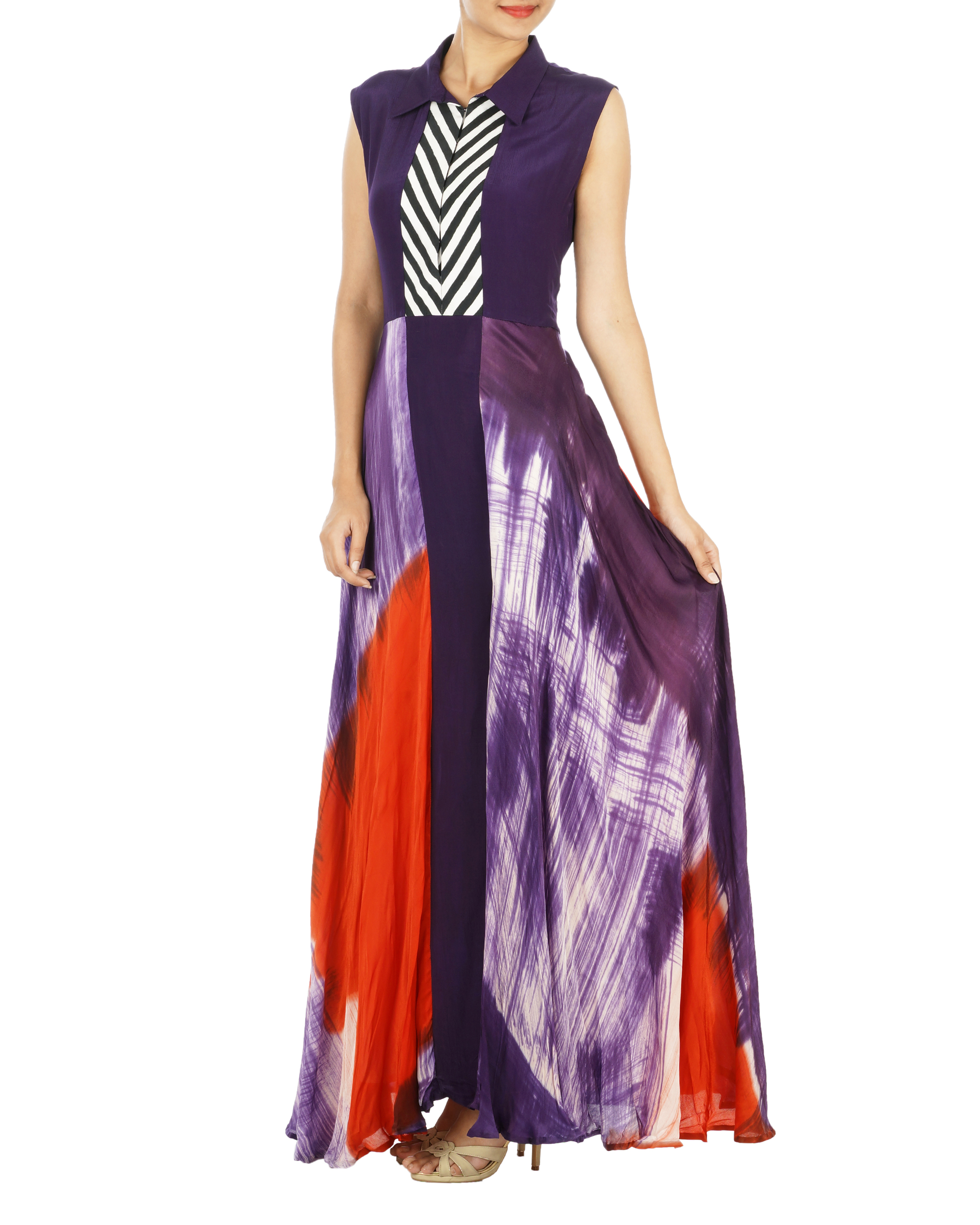 Purple and red hand painted long dress