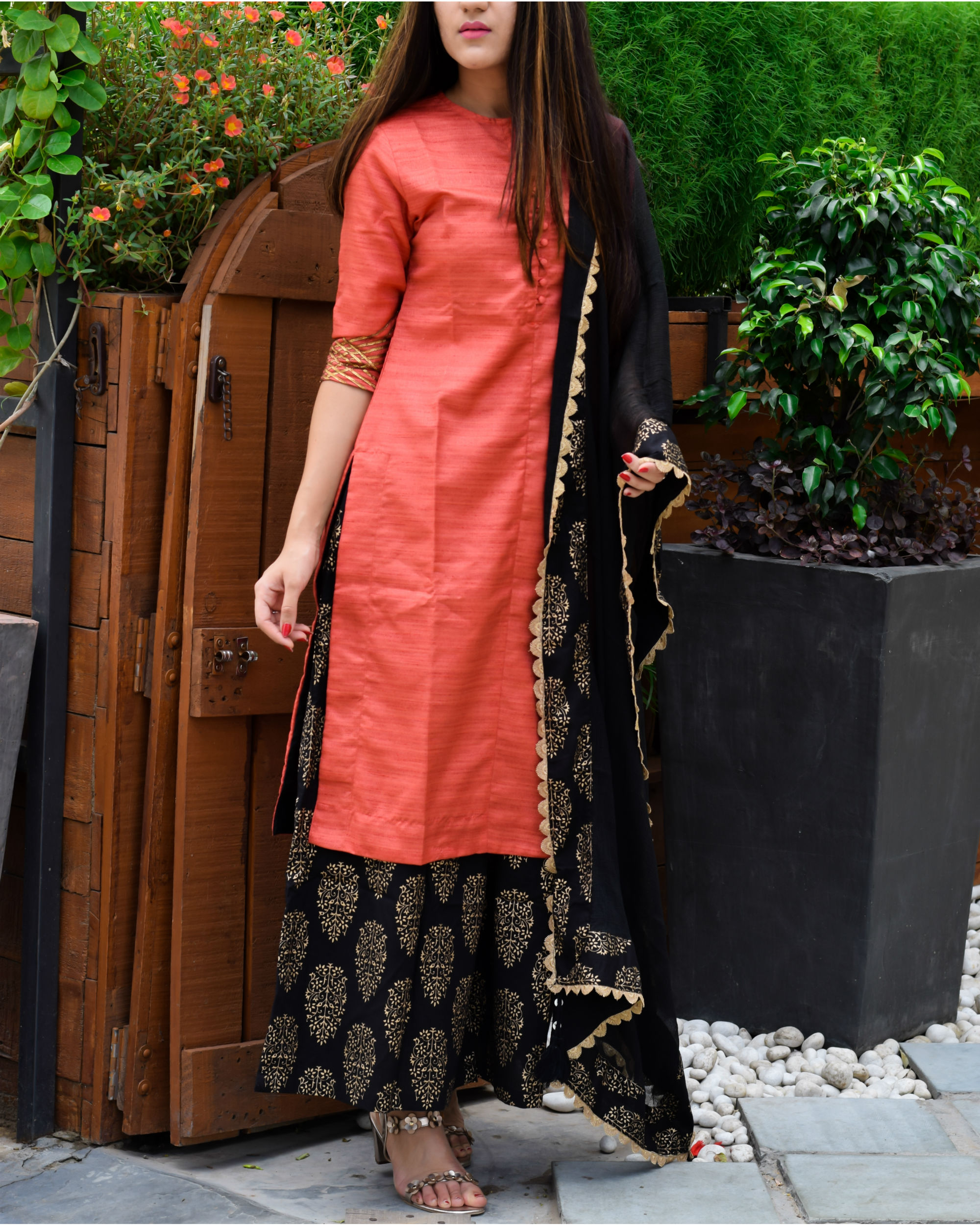 Red and black kurta palazzo and dupatta set