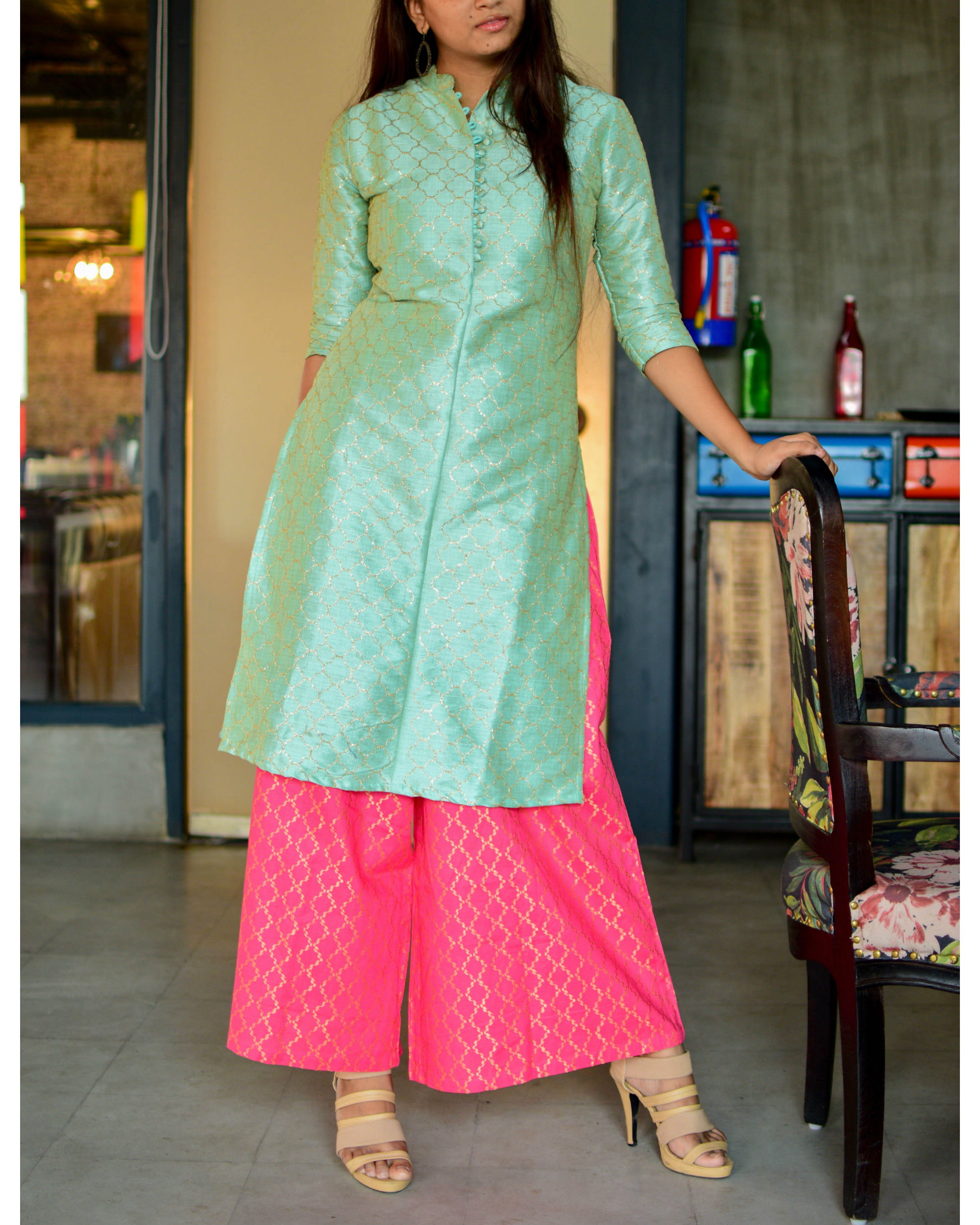 Mint green kurta with pink palazzo