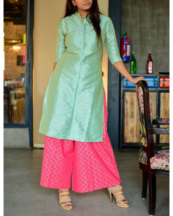 Mint green kurta with pink palazzo