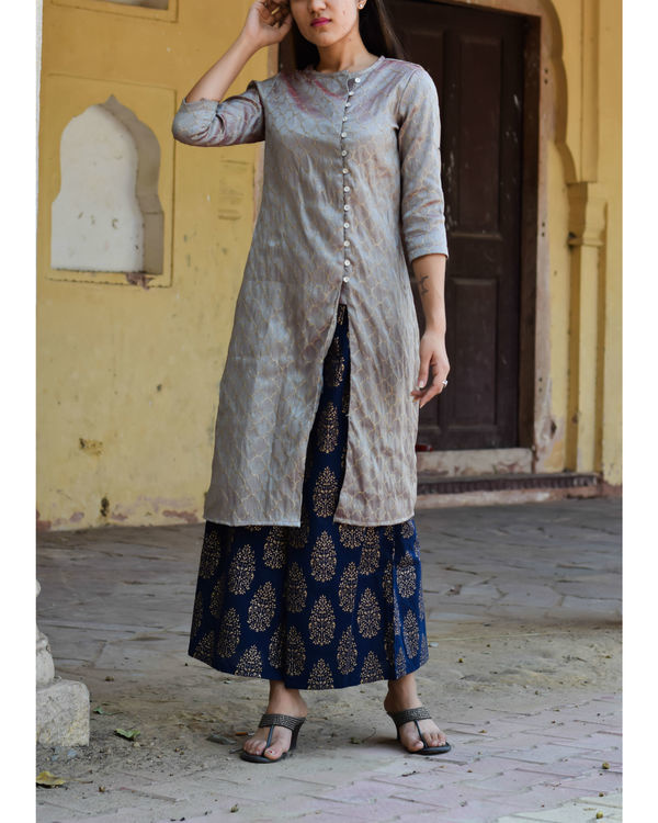 Grey kurta with gold block print palazzo
