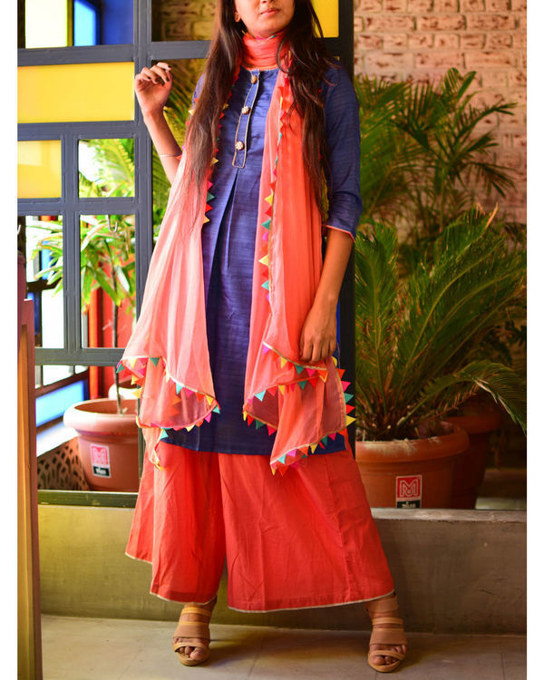 Blue kurta with peach palazzo and dupatta