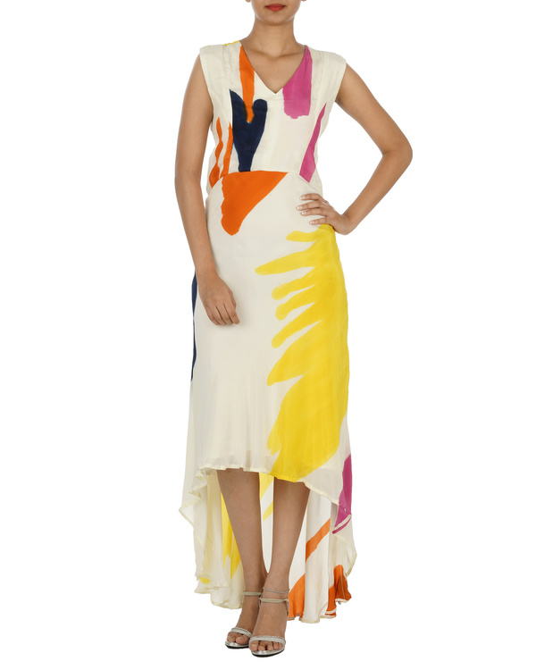 White And Yellow Hand painted long dress