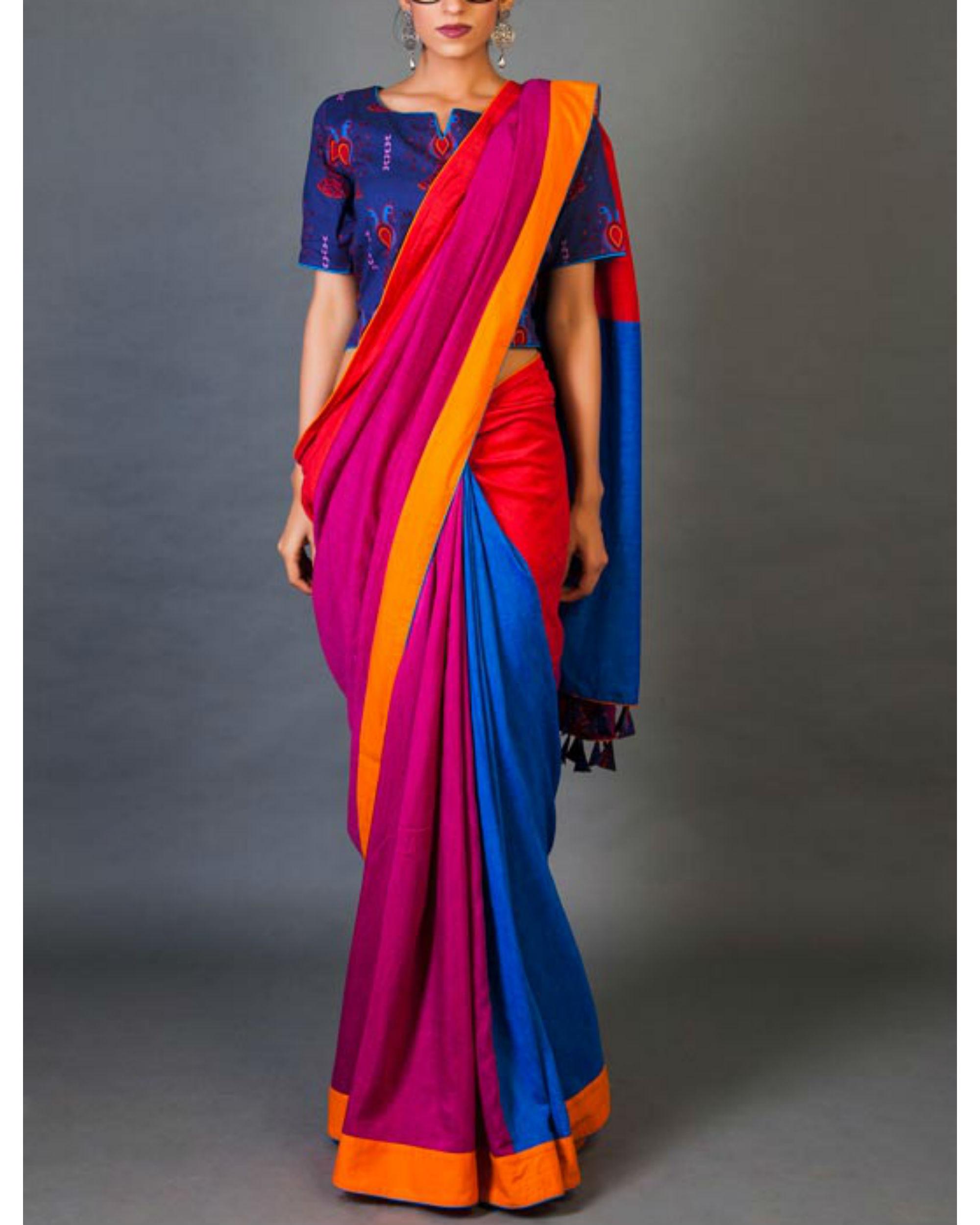 Blues and pinks sari