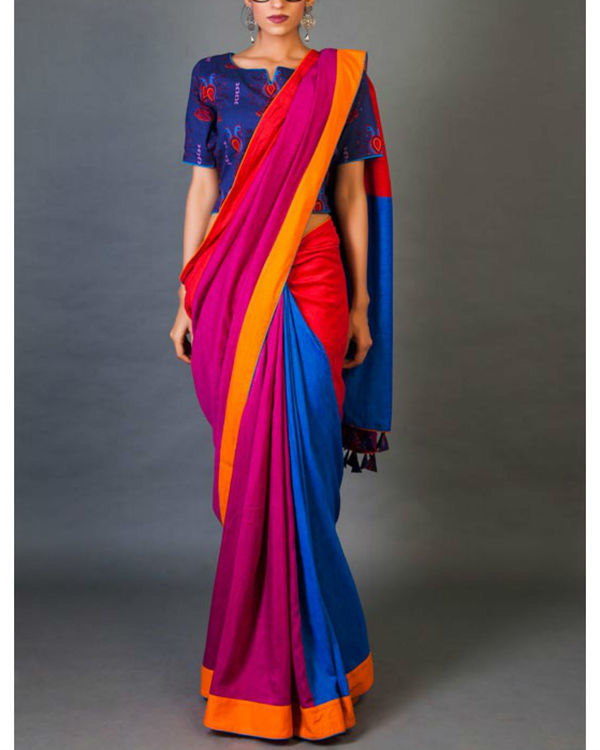 Blues and pinks sari