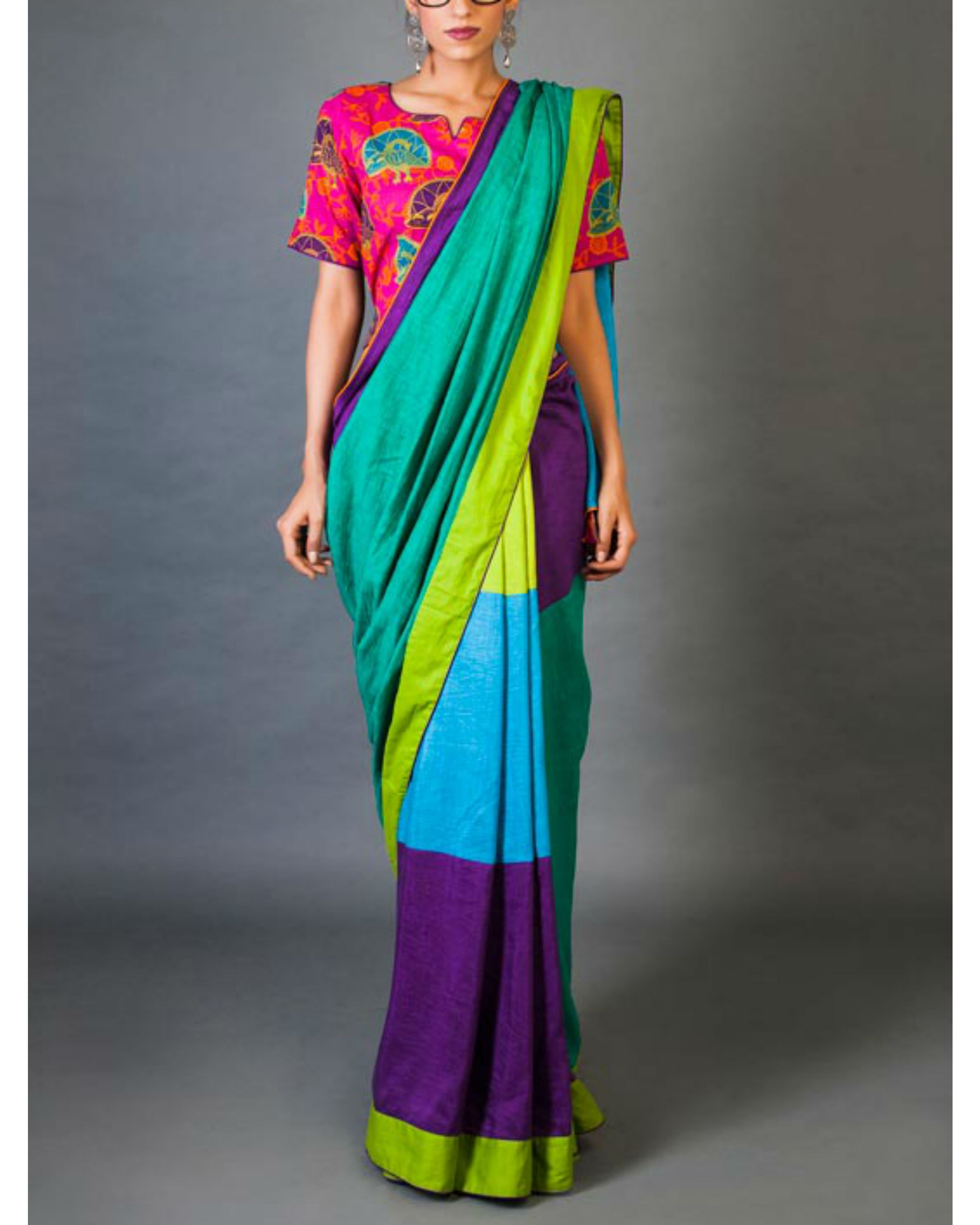 Hues and tints sari