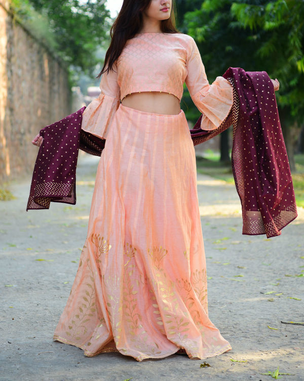 Peach and maroon chanderi lehenga set