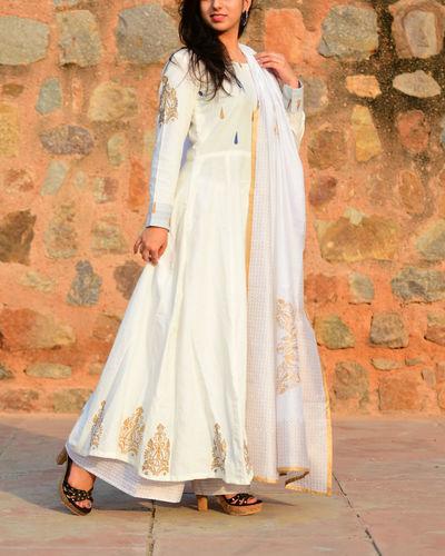 Ihram Kids For Sale Dubai: White And Gold Anarkali Palazzo Set By The Glory